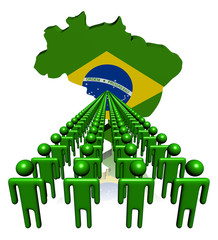 Lines of people with Brazil map flag illustration