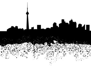 Toronto skyline grunge silhouette illustration