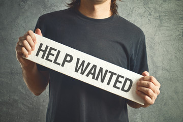 Help wanted. Casual man asking for help.