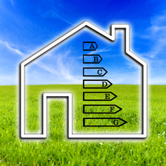 Outline of a home showing energy efficiency rating