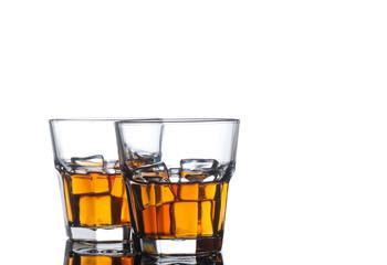 whiskey glasses on white background