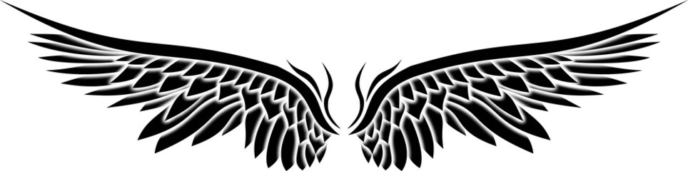 Illustration of Wings Ornaments Silhouette