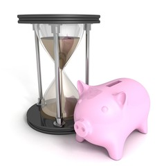 concept money time piggy bank sand hourglass on white background