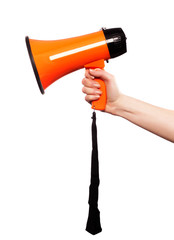 A caucasian hand holding a megaphone on a white