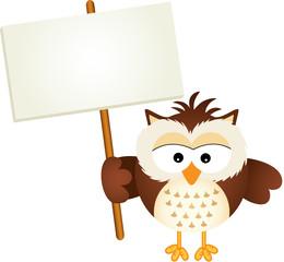 Owl Holding Blank Signboard