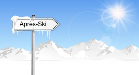 Schild Berge Après-Ski