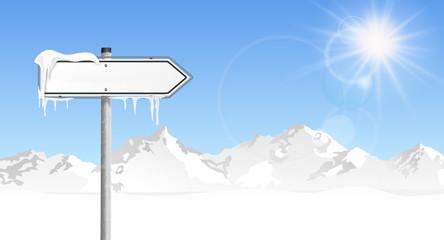 Schild Berge Winter