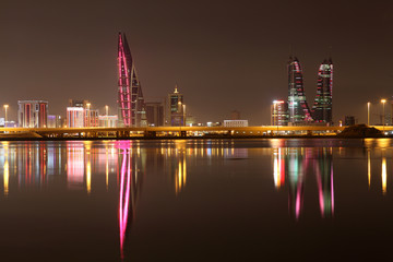 Skyline of Manama at night. Bahrain, Middle East