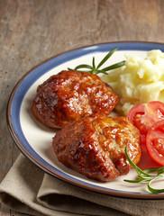juicy fried meat cutlets