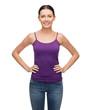 smiling girl in blank purple tank top