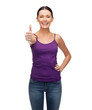 girl in blank purple tank top with crossed arms