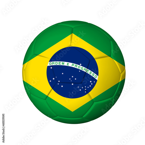 Soccer football ball with Brasil flag. Isolated on white.