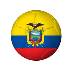 Soccer football ball with Ecuador flag. Isolated on white.
