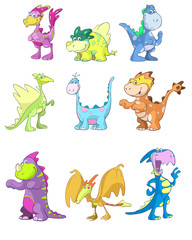 cute dino vector set