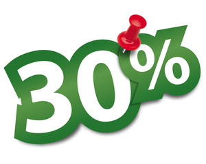 Thirty percent sticker fixed by a thumbtack. Vector illustration