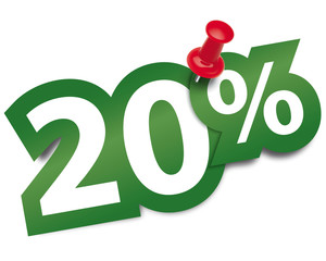 Twenty percent sticker fixed by a thumbtack. Vector illustration