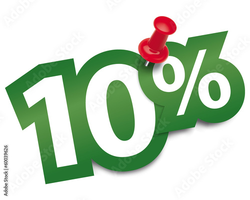 Ten percent sticker fixed by a thumbtack. Vector illustration