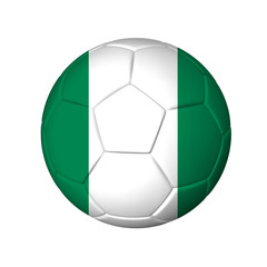 Soccer football ball with Nigeria flag. Isolated on white.