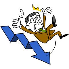 下降する矢印と転倒する中年ビジネスマン