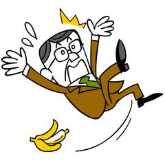 バナナの皮で滑って転ぶ中年ビジネスマン