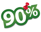 Ninety percent sticker fixed by a thumbtack. Vector illustration