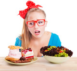 Difficult choice between junk and healthy food