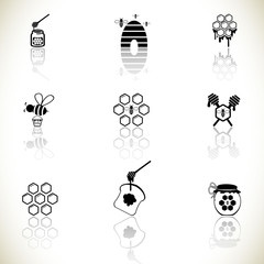 Honey and beee icons set