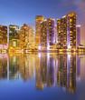 City of Miami Florida, night skyline with reflection