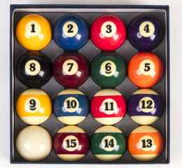 Top view of a full set of billiards balls inside an box
