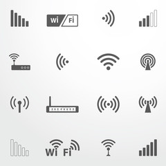 Set of four wifi icons