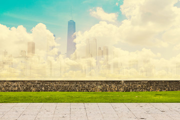 Abstract Skyline With Sidewalk