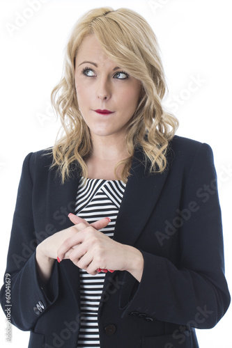 Young Business Woman Biting Her Lip