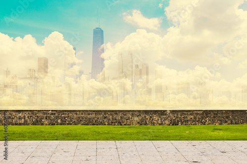 Abstract Skyline With Sidewalk