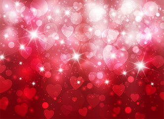 Amazing valentine background with hearts