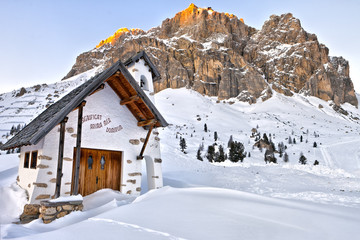 Small white church at Passo Falzarego, Dolomites Mountains