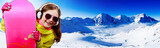 Snowboarding, snowboarder, sun and fun - young girl enjoying win
