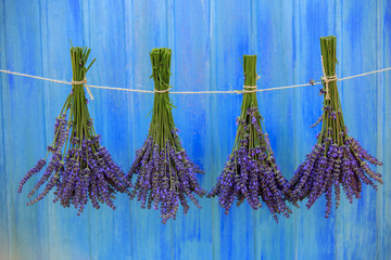 Lavender herbs drying on the wooden barn