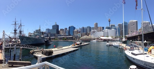 Panorama view from Darling Harbour marine Sydney