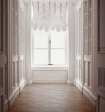 Fototapety Luxury old vintage classic hallway with old floor