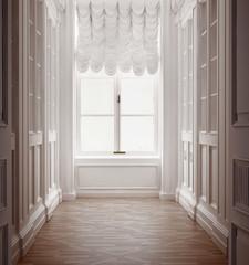 Luxury old vintage classic hallway with old floor