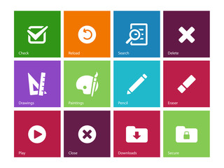 Application interface icons on color background.