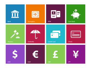 Banking icons on color background.