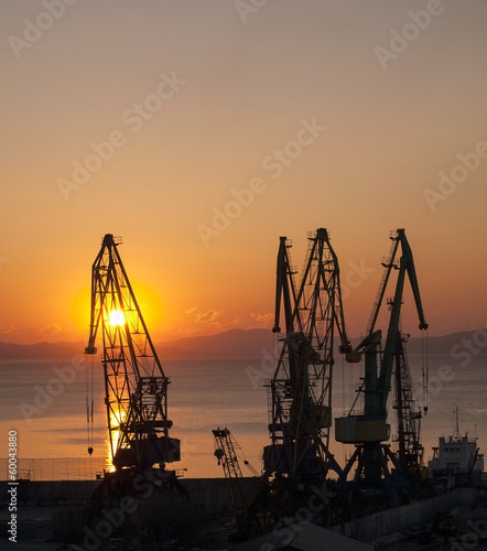 Gantry crane on a background of rising sun