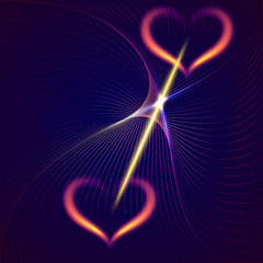 Vector abstract flame hearts and beams dark blue background