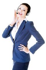 Beautiful business woman at call center.