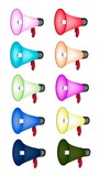 Set of Loudspeaker or Megaphone on White Background