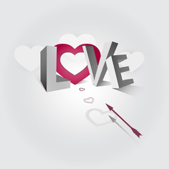 Illustration of the word love and arrow flying to the heart