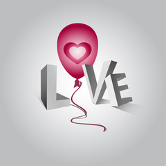 The word love and a flying balloon with heart