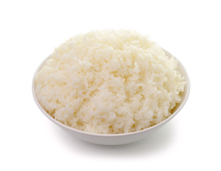 bowl full of rice on white