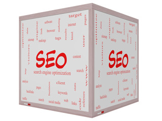 SEO Word Cloud Concept on a 3D cube Whiteboard